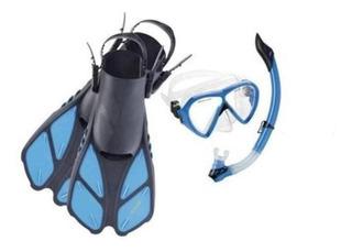 Set Buceo Cressi Bonete Snorkel Mascara Aletas Ajustables