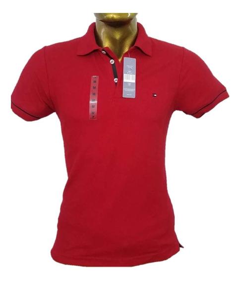 Playera Tipo Polo Caballero Color Rojo Tomy