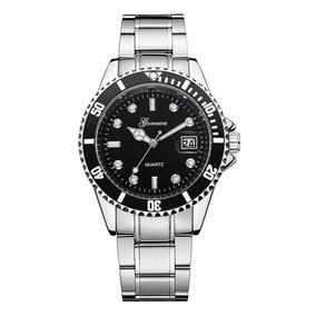Relógio Geneva W-7 Unissex Analógico Quartz Visor Preto