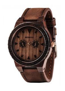 Relógio Em Madeira Wewood Leo Leather Chocolate Wwle02