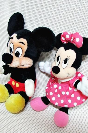 Mickey E Minnie Pelucias Antigas Disney 22 Cm Bau10