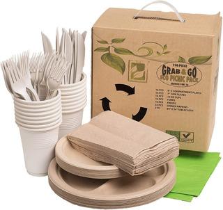 Platos Desechables Carton Biodegradable Kit Picnic Tenedores
