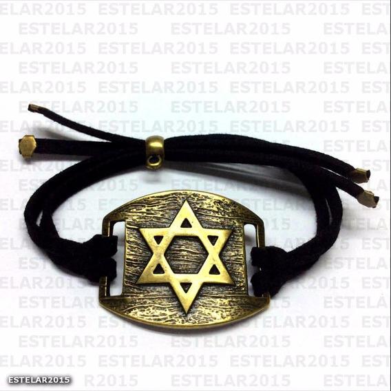 Pulseira Ajustável Camurça Estrela De Davi Hexagrama Salomão