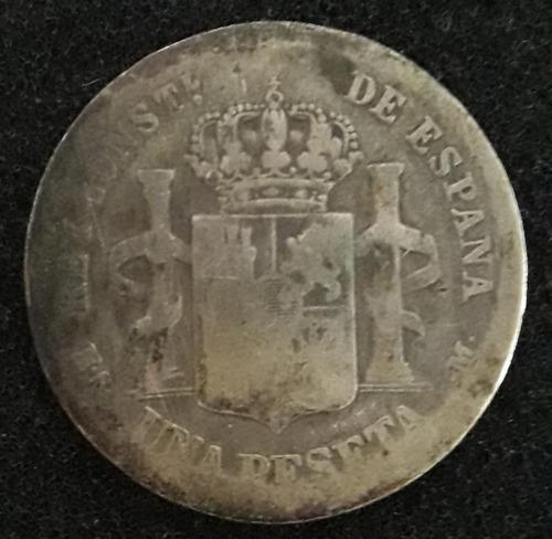 Imagem 1 de 4 de Moeda Una Peseta Ano 1883 Espanha