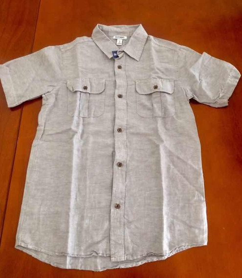 Camisa Old Navy Color Gris Para Niño Manga Corta Xl 12-14