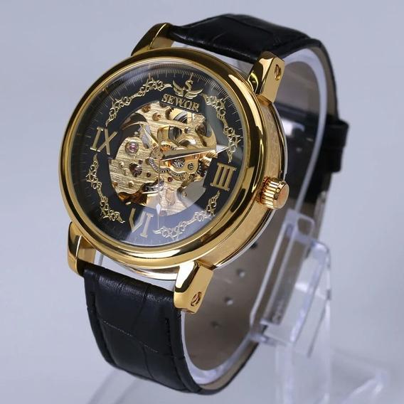 Relógio De Luxo Original Esqueleto Automático Sewor