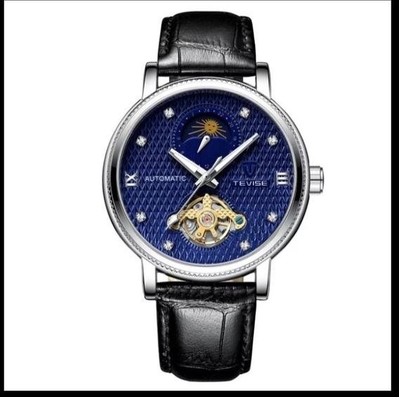 Relógio Automático Funcional Original Oferta Couro E.107