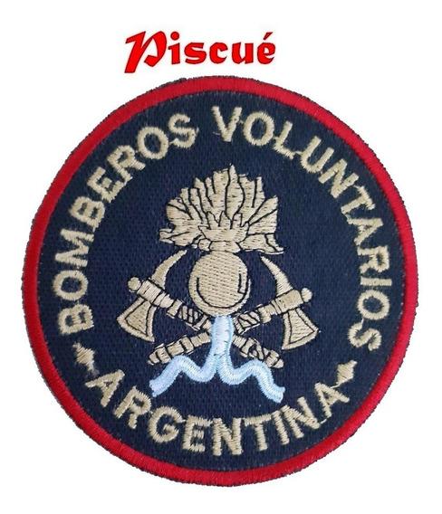 Parche - Escudo Bordado Bomberos - Piscué - Fondo Negro