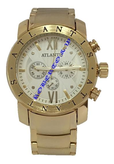 Relógio Masculino Luxo Atlantis Dourado Pronta Entrega