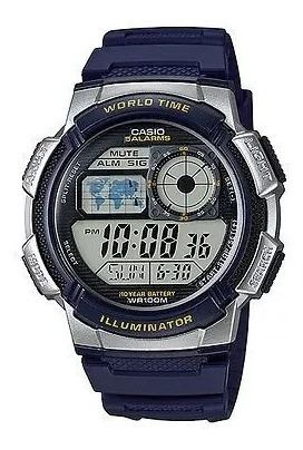 Relógio Casio Ae-1000w- Azul H.mundi-cron. 5 Alarmes