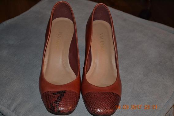 Sapato Tipo Bonecas, Cor Terracota, Nº 35, Marca Via Uno