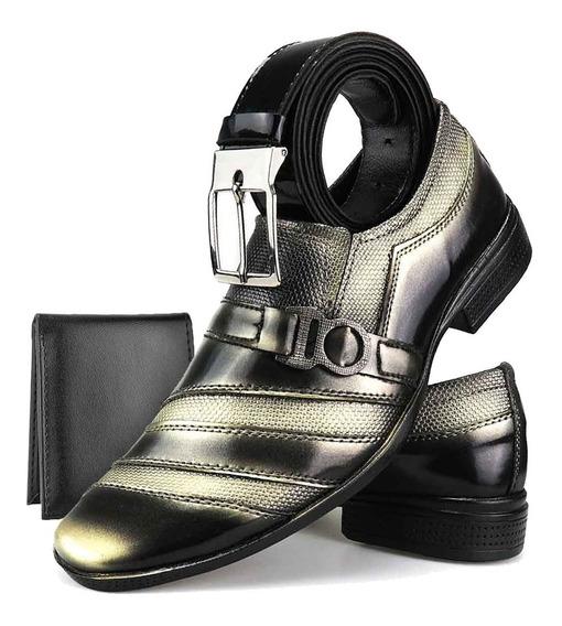 Sapato Social Envernizado Fivela Original Cinto E Carteira
