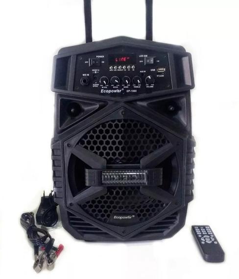 Caixa Amplificada Som Ecopower Ep1900 100w Rms Bluetooth