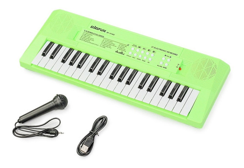 Imagem 1 de 3 de Teclado Infantil Standard 37 Teclas Usb Verde C/ Microfone