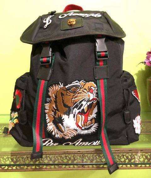 Mochila Bordada Backpack Tipo Gucci Bordada Envío Gratis