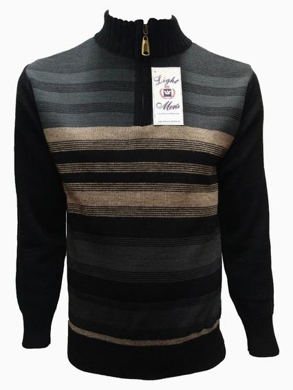 Suéter Negro Con Gris Y Beige Rayado Medio Cierre
