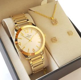 Relógio Champion Feminino Dourado Kit Colar Brincos Cn25396w