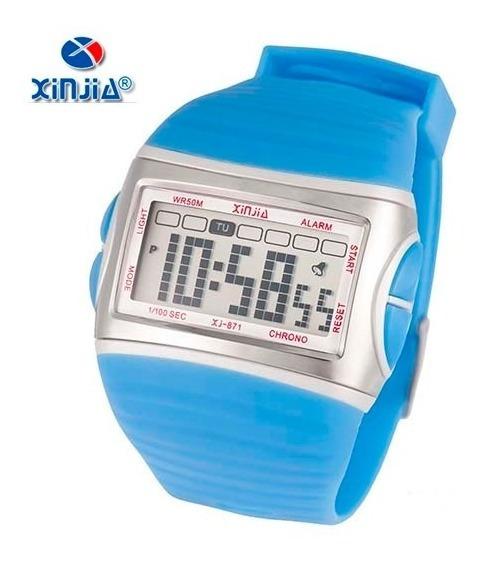 Relógio Digital Masculino Original Xinjia Xj-871 Azul D