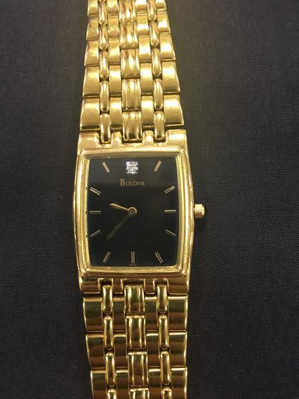 Relógio Bulova 97d93 Dourado Com Cristal Vintage