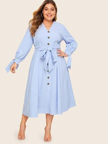 Vestido Azul Con Botones Tallas Extras 1xl, 2xl Y 3xl