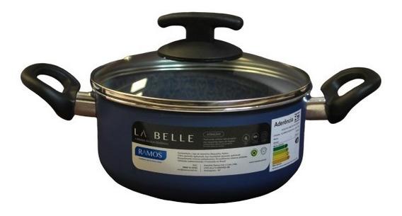Cacerola Teflon 24cm Ramos La Belle Azul Tapa Vidrio