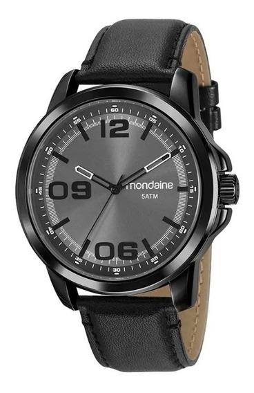 Relógio Mondaine Masculino Chumbo Pulseira Couro Fundo Chumbo Ref. 99382gpmvph2