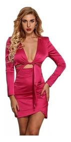 Sexy Mini Vestido Satin Kylie Escote Pink