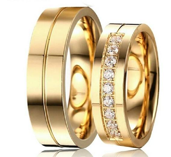 Par De Aliancas Tungstenio Folheado Em 3 Camadas De Ouro 18k