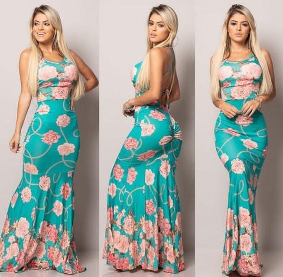 Vestido Longo Sereia Levanta Bumbum C/ Bojo Primavera/verão