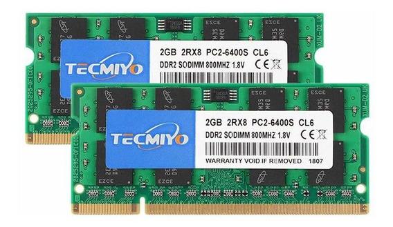 Memoria Ram 4gb (2x2gb) Ddr2 800mhz Pc2-6400 Sodimm Tecmiyo