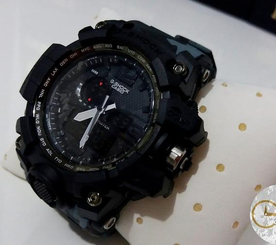 Relógio Camuflado Cinza Masculino Digital E Analógico