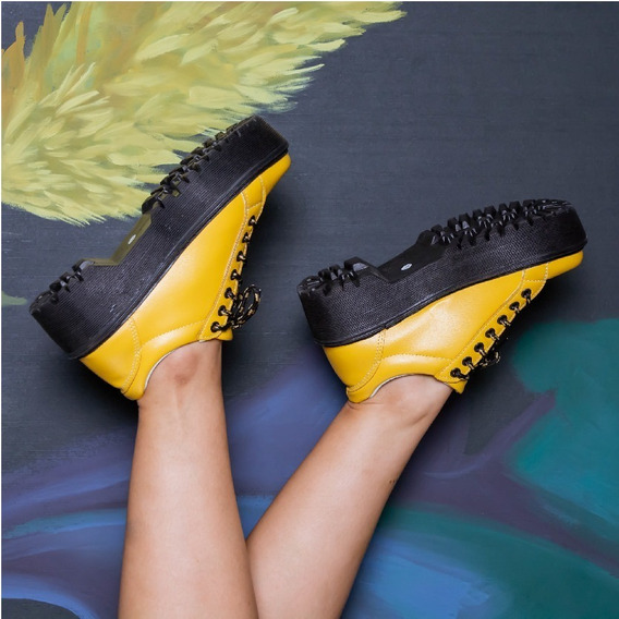Calzado Mujer Borcego Botineta C Cordon Simil Cuero Amarillo