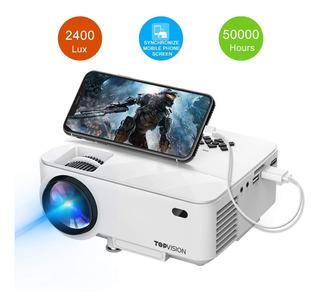 Mini Proyector Topvision 2400lux Usb Sincroniza Tu Teléfono