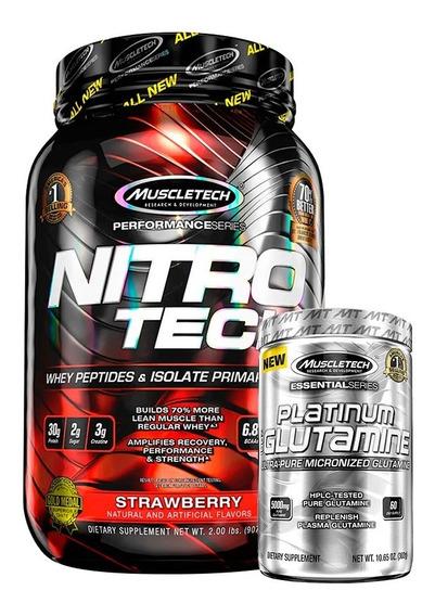 Nitro Tech 2 Lbs + Glutamina Muscletech Platinum 302 G