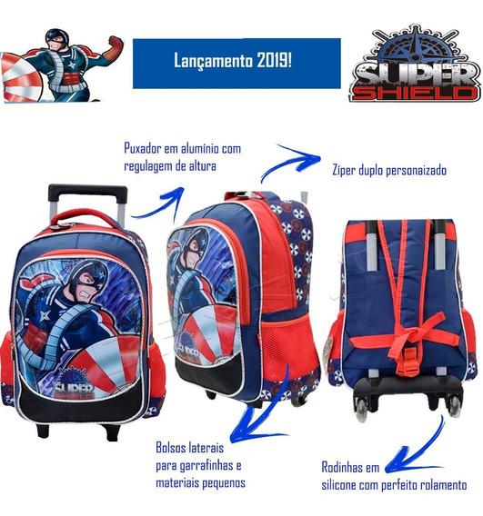Mochila Infantil Com Rodinha Cap. América Shield Mc3593