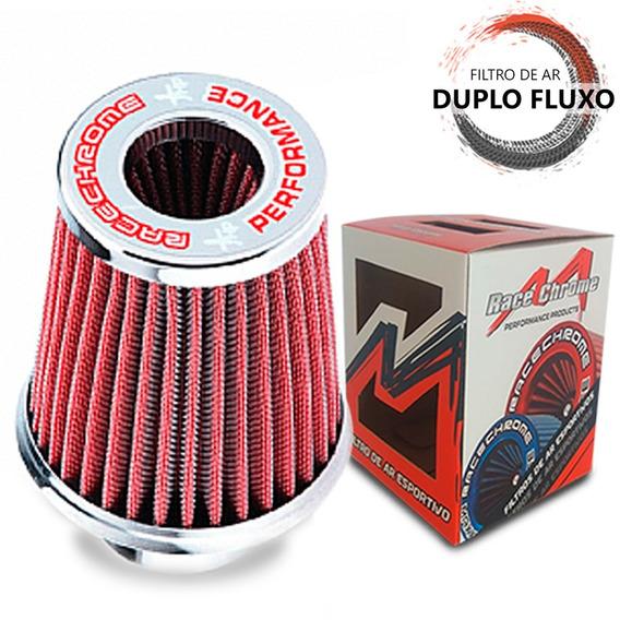 Filtro De Ar Esportivo Duplo Fluxo Grande Vermelho 62/70mm.