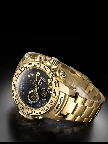 Relógio Mizums Masculino Dourado Original A Prova D