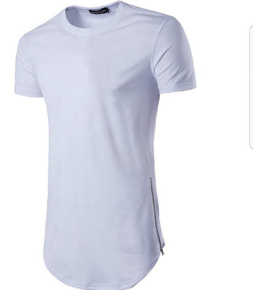 Camisa Oversized Longline Com Zíper Lateral Stecchi