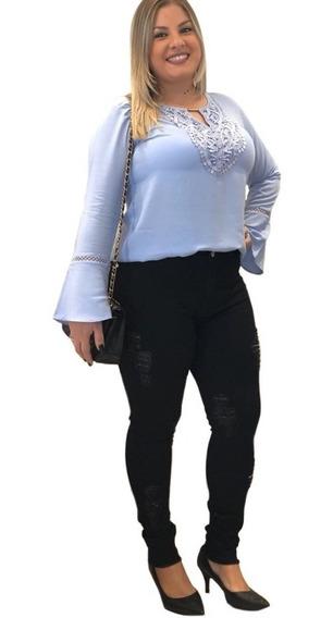 Calça Jeans Plus Size Grande Feminina Preta Rasgada 46 Ao 60