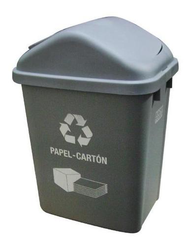 Caneca Plastica Gris 30lt Ref: Ztl30f-7 Papel Carton /tapa V
