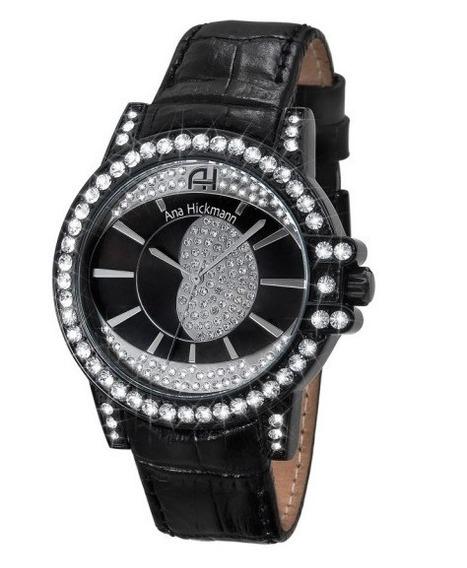 Relógio Feminino Ana Hickmann Couro Preto Original Ah28160t