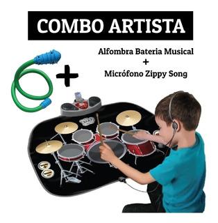 Combo Alfombra Bateria Musical + Micrófono Zippy Song Envios