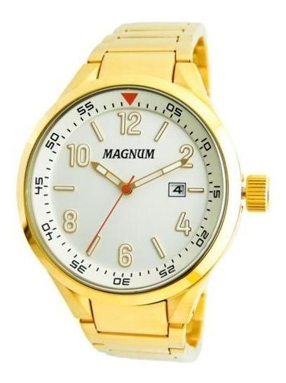 Relógio Magnum Masculino Dourado Ma35048h Calendário