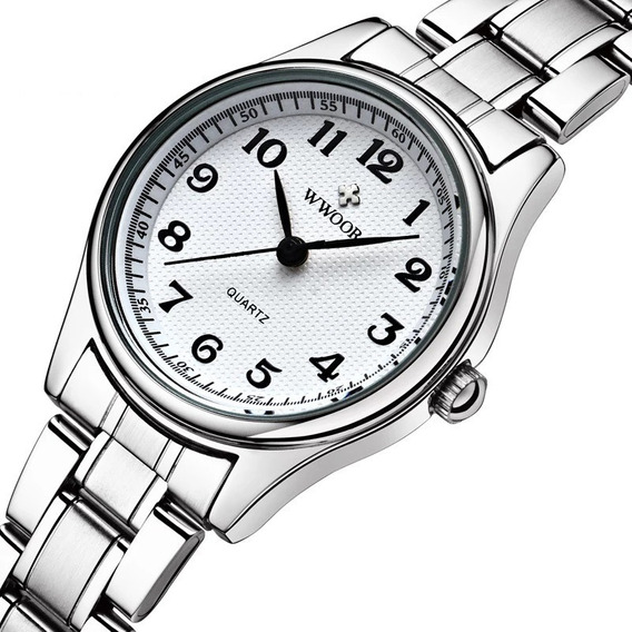Relógio Feminino Branco Aço Inox Números 8804
