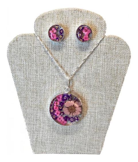Collar Y Aretes De Flores Encapsuladas, En Baño De Plata