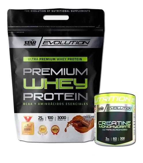 Premium Whey Protein Star Nutrition 3kg + Creatina 300 Grs