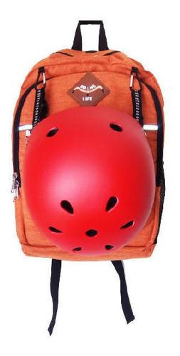 Mochila Rolling Life Porta Laptop 14  Y Casco Naranja