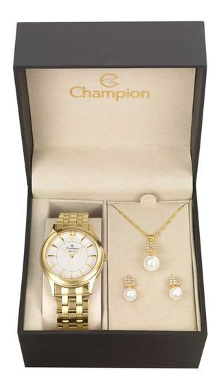 Relógio Champion Elegance Analógico Feminino Cn26475w + Folheado 18k