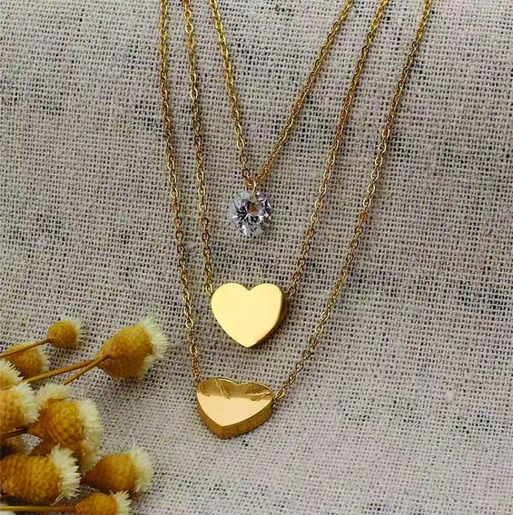 Colar+brinco Coração Aço Inox Hipoalégico Banhado A Ouro