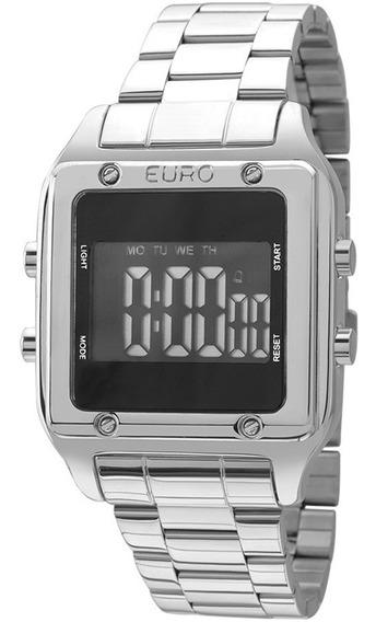Relógio Euro Eug2510ab/3p Digital Quadrado Prateado Sabrina